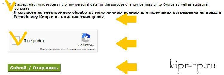 Отправляем анкету на про-визу на Кипр для граждан России