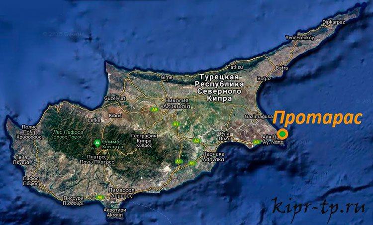 Протарас на карте Кипра