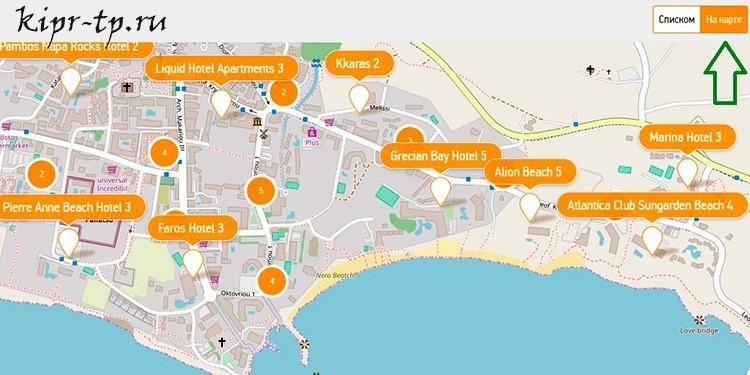 Айя-Напа: пляжи и отели на карте