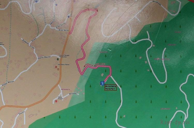 Водопад Милломерис на карте