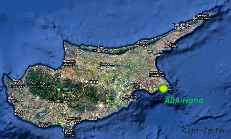 Айя-Напа на карте Кипра